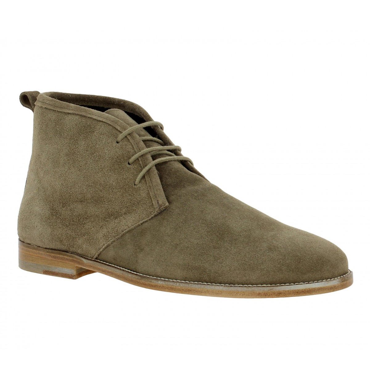 Bottines BOBBIES Le Monsieur velours Homme Taupe