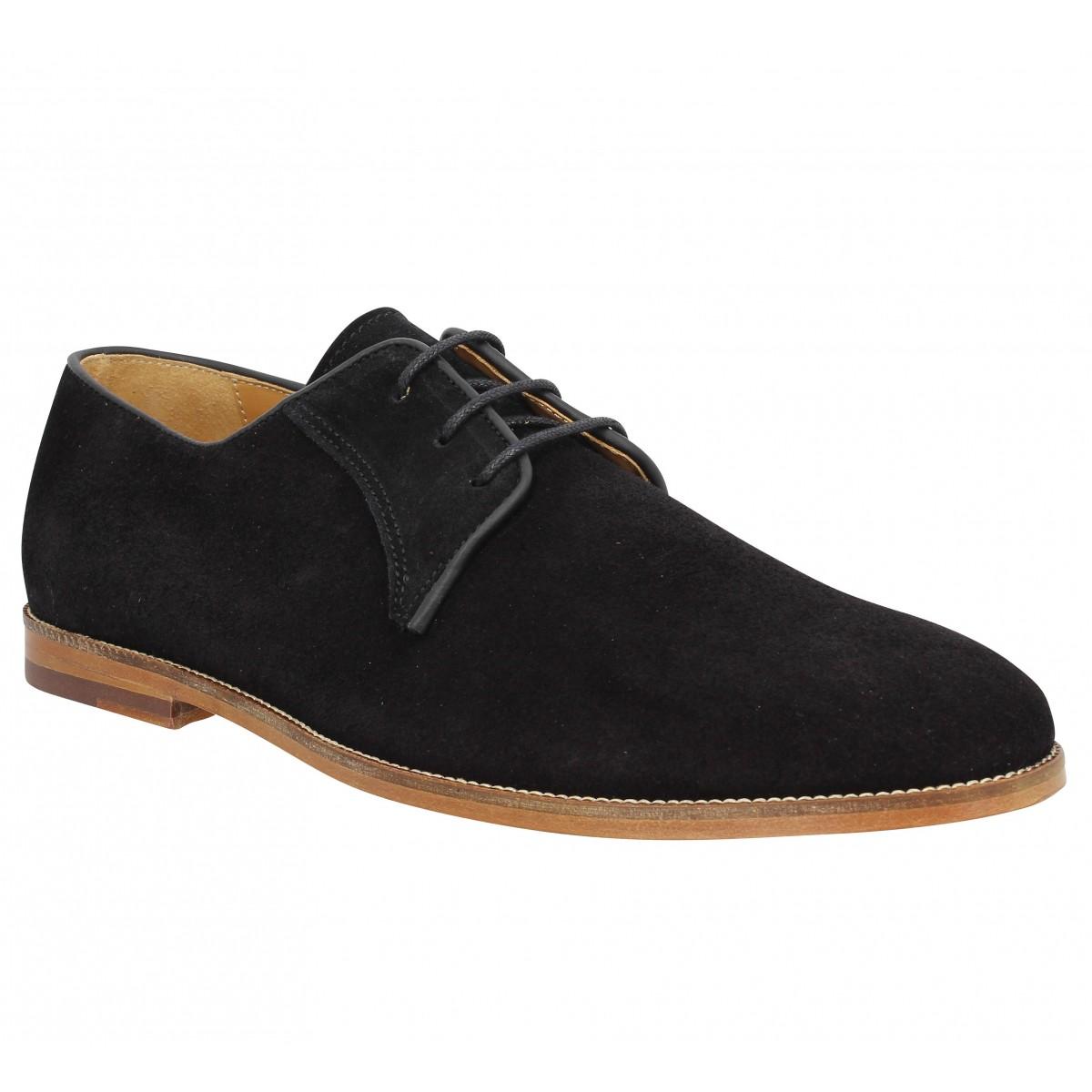 Chaussures à lacets BOBBIES Le Photographe velours Homme Noir