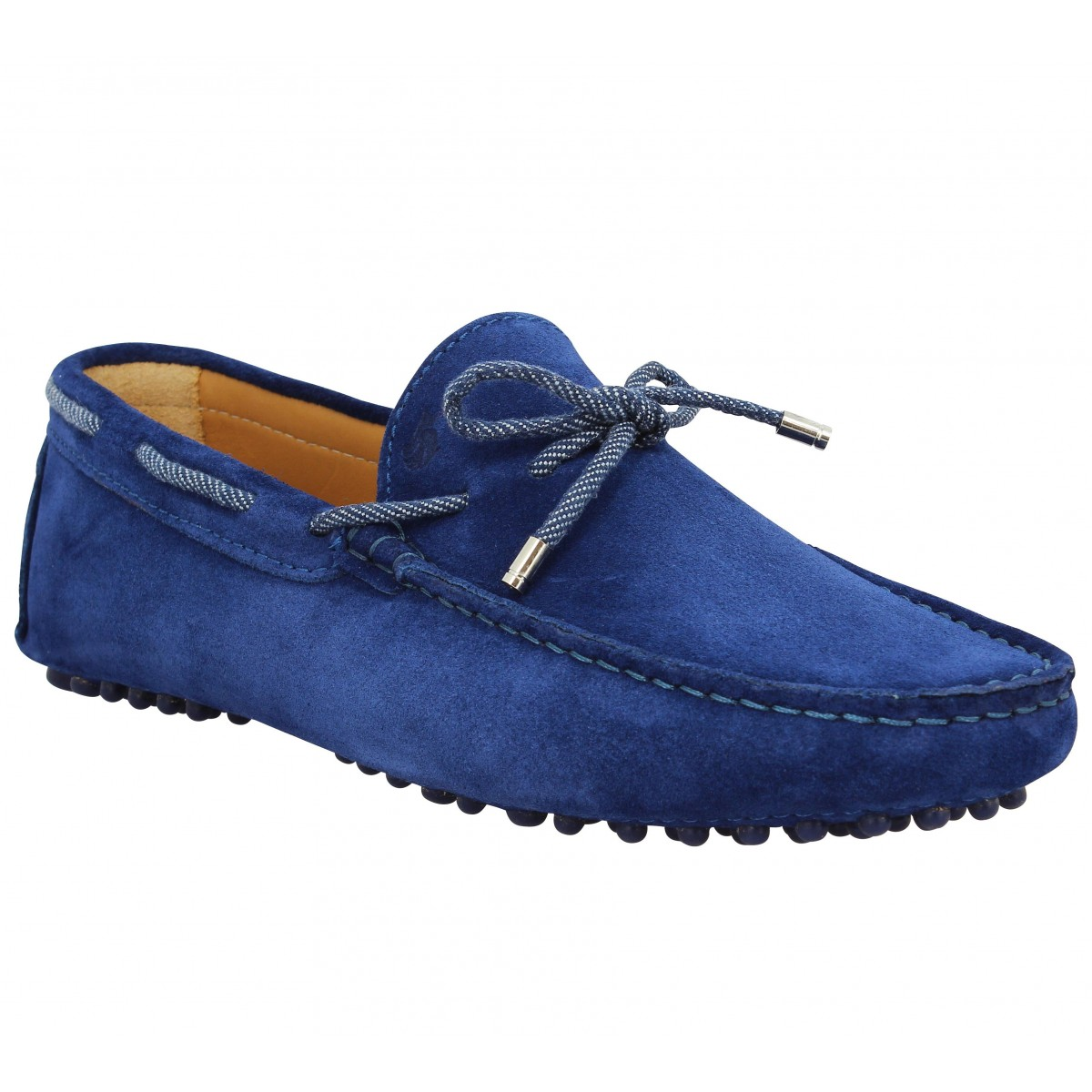 Mocassins BOBBIES Le Reveur velours Homme Bleu