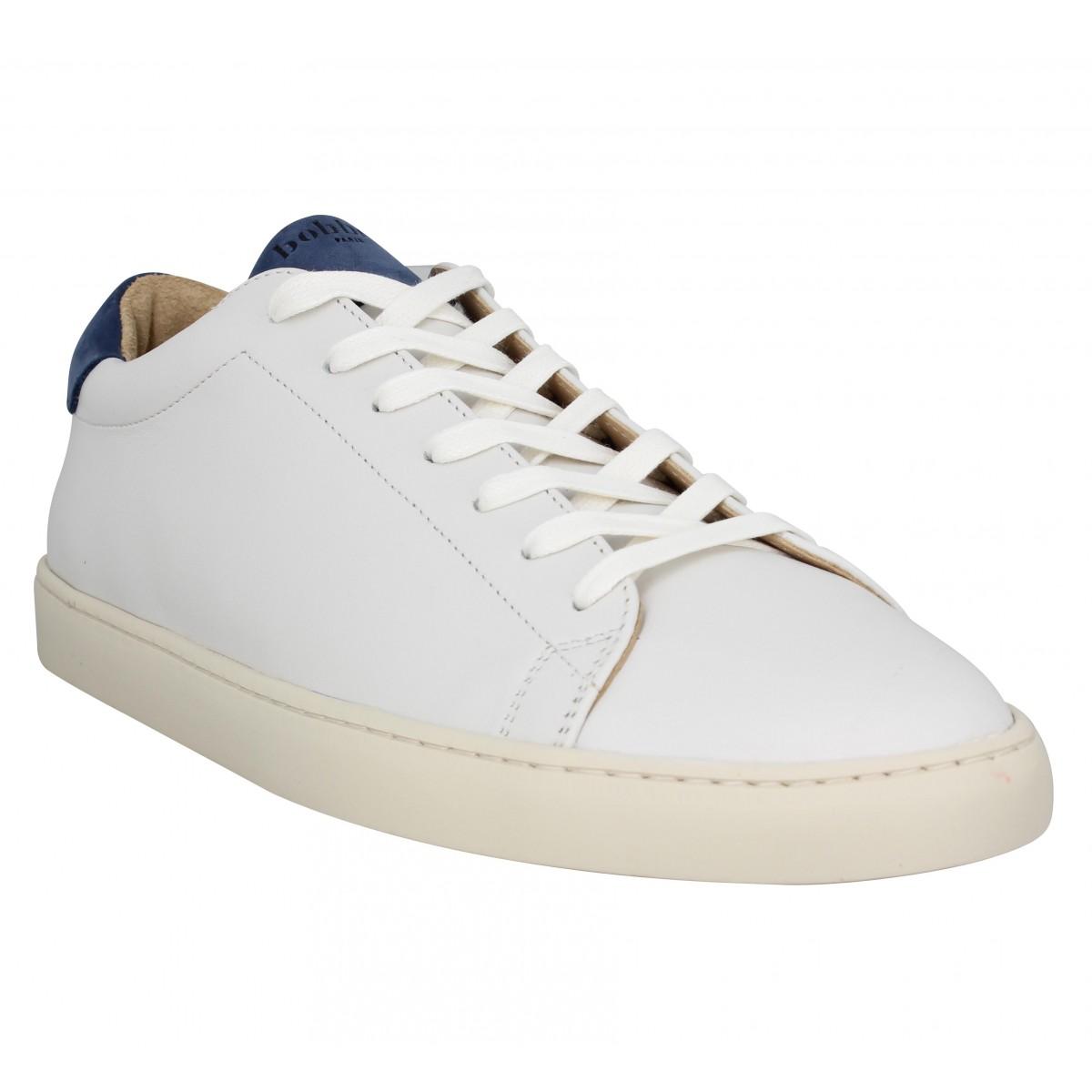 Baskets BOBBIES Le Tchatcheur cuir Homme Blanc casse Bleu
