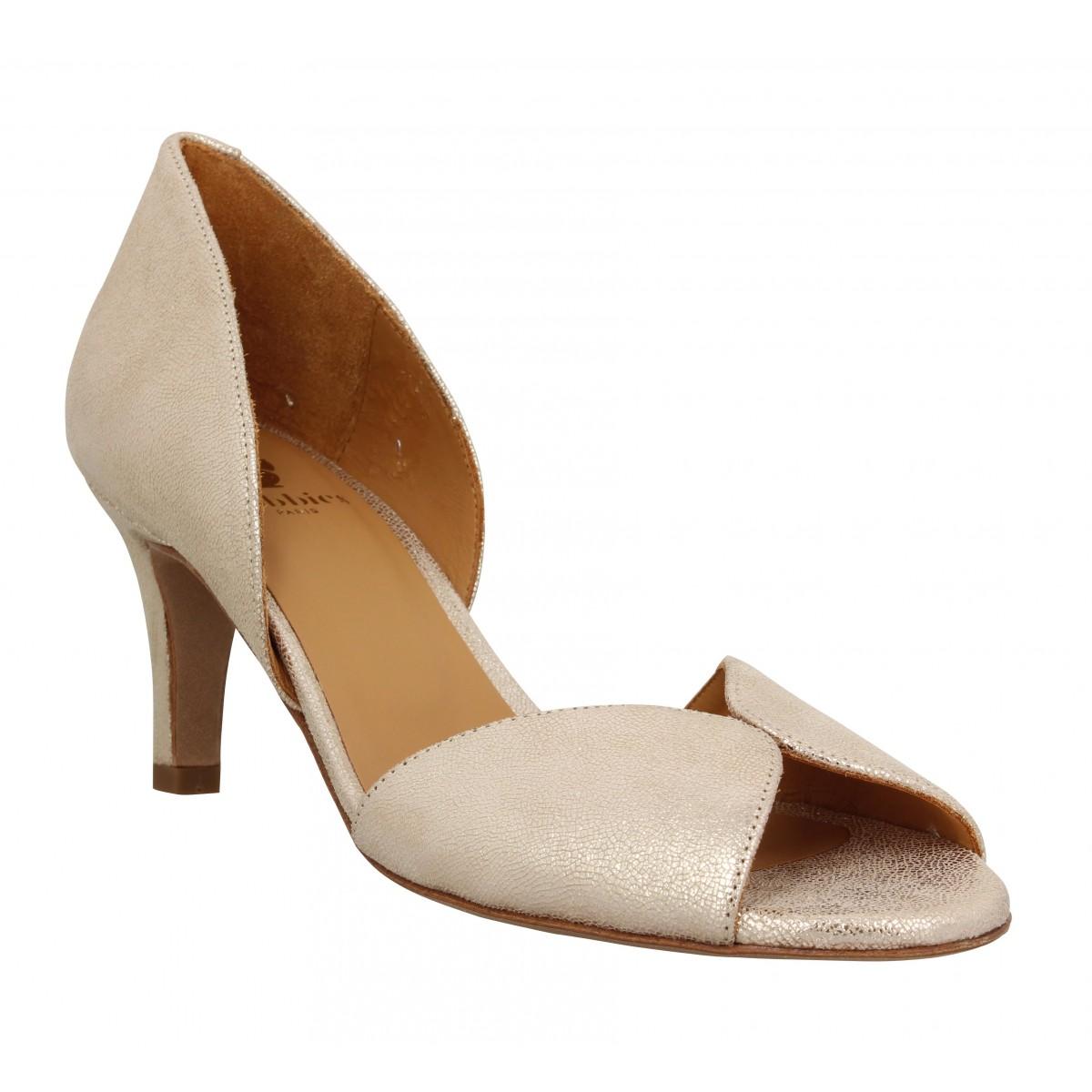 Sandales talons BOBBIES Liz cuir craquele Femme Champagne Irise