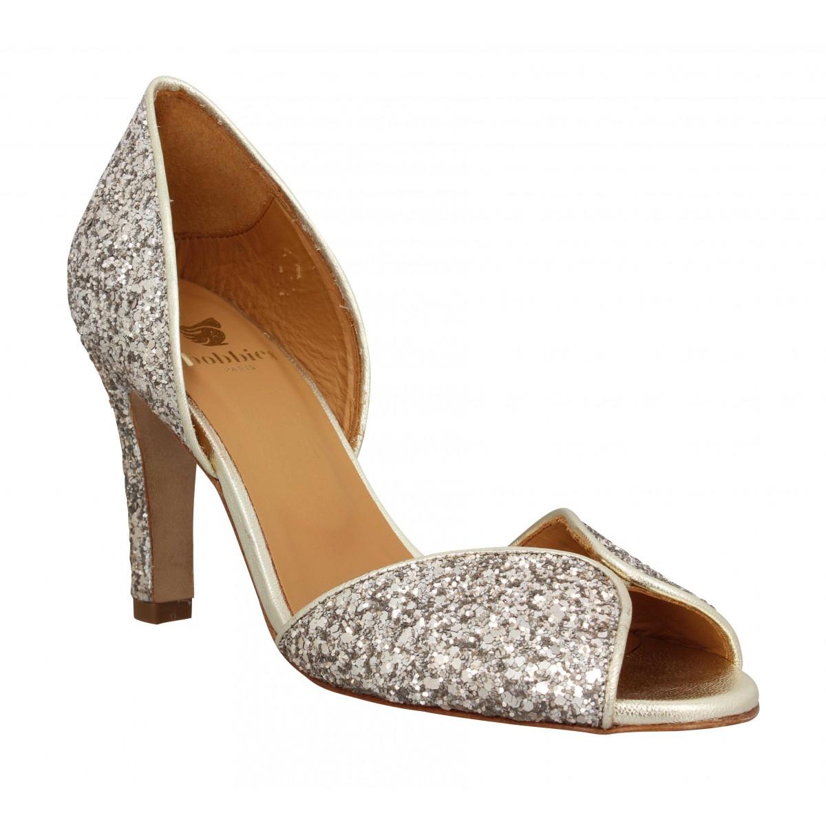Sandales talons BOBBIES Samba glitter Femme Dore