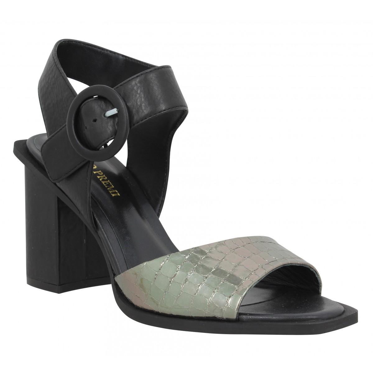 Sandales talons BRUNO PREMI 1103 cuir Femme Noir Acier