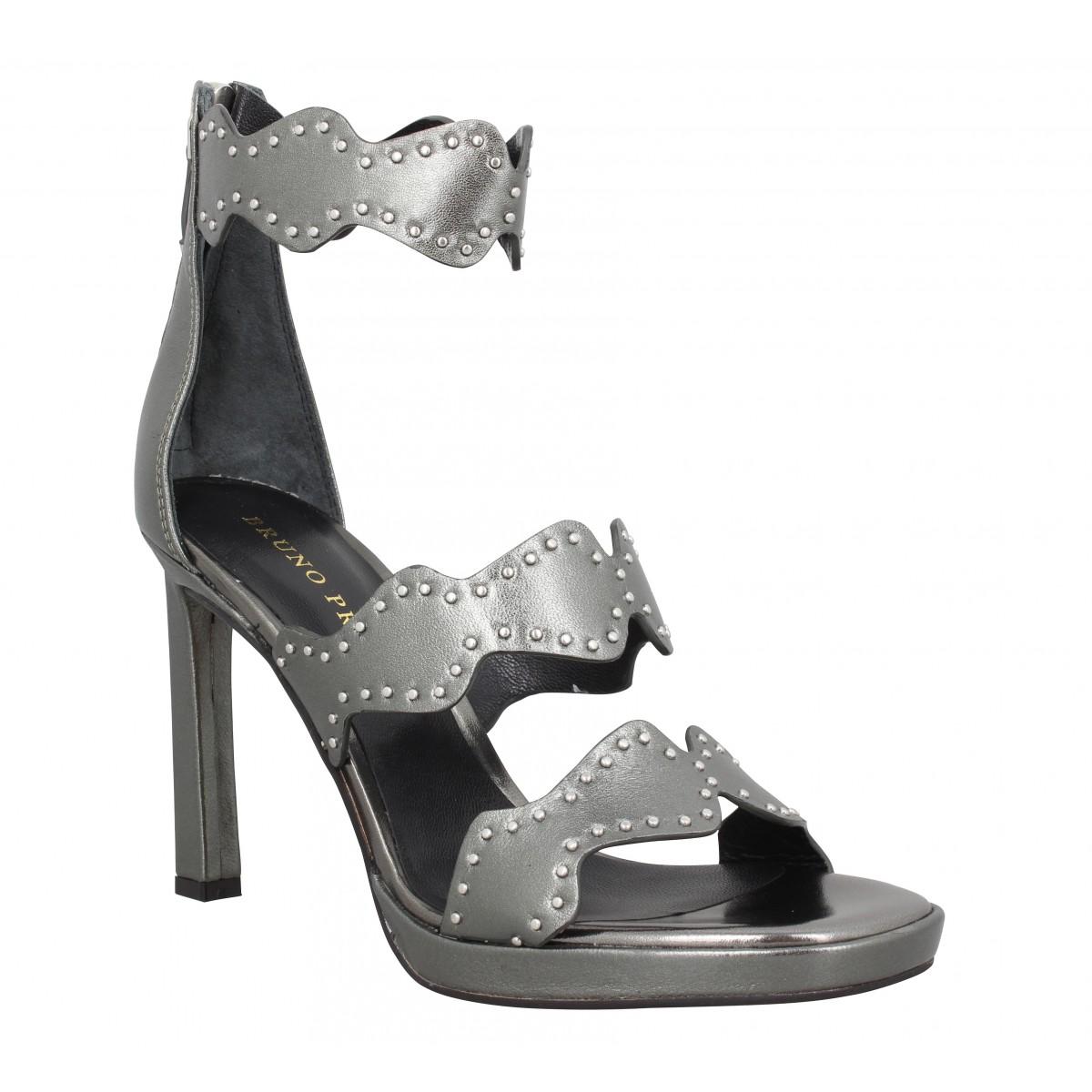 Sandales talons BRUNO PREMI 350 cuir Femme Anthracite