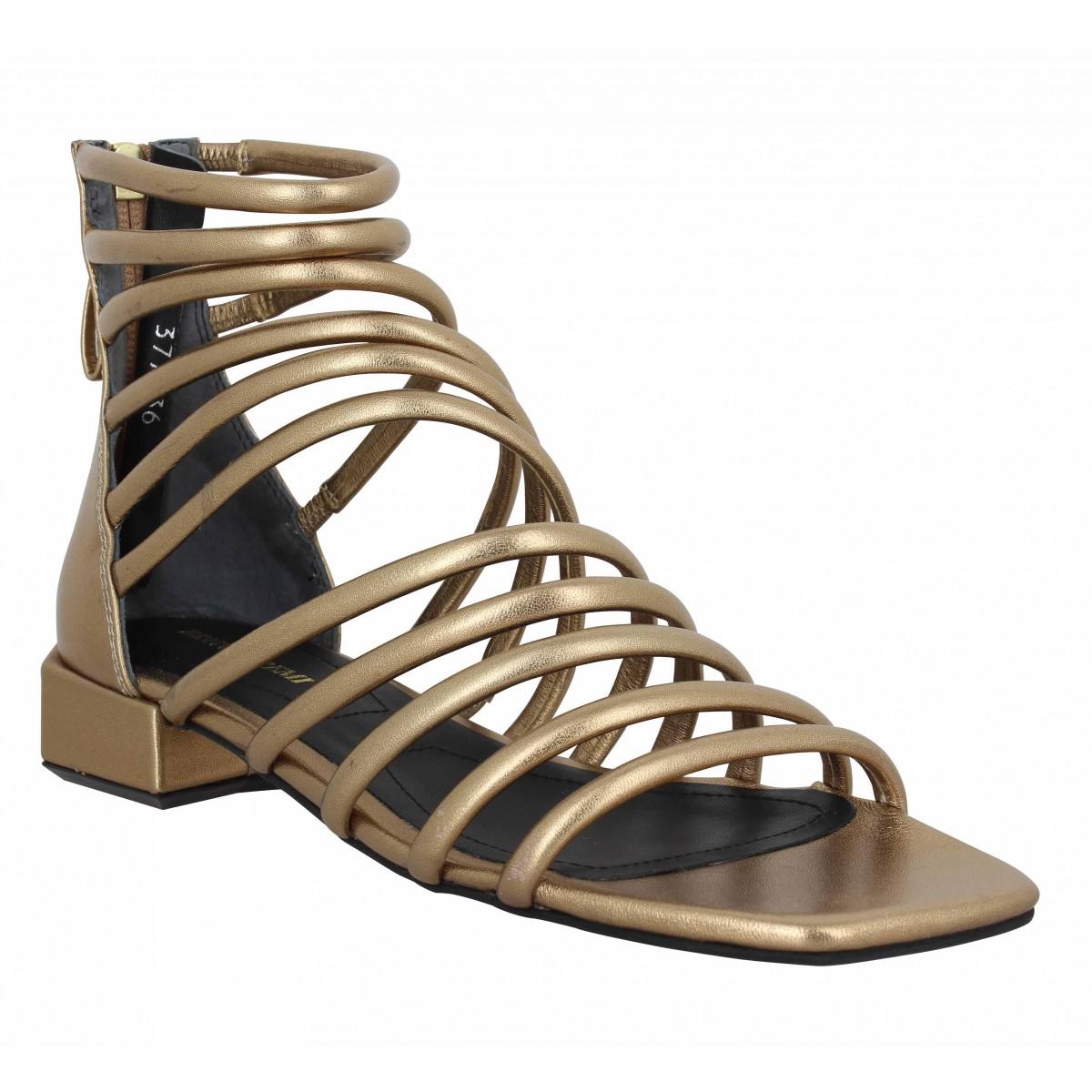 Sandales talons BRUNO PREMI 803 cuir lame Femme Or