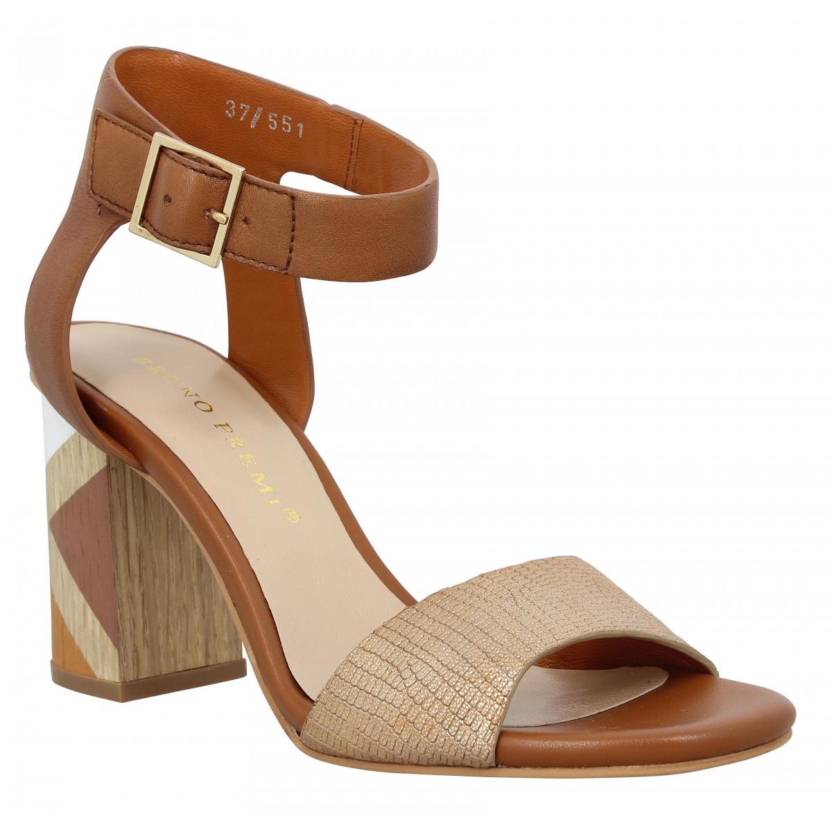 Sandales talons BRUNO PREMI K1403 cuir Femme Cognac