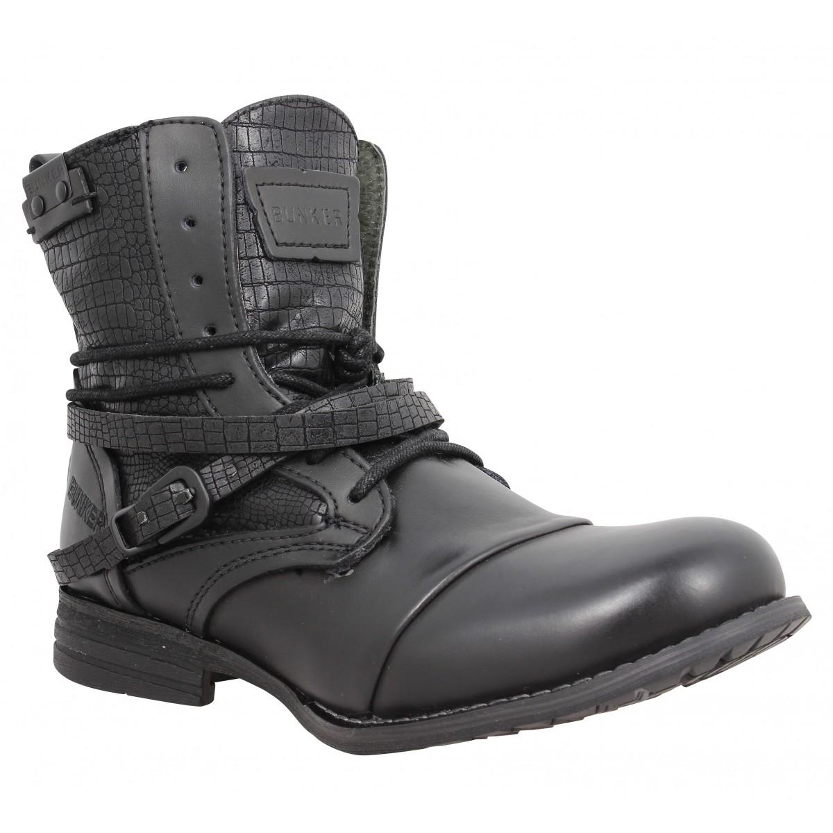 Femme Bunker Cuir Chaussures Sara Noir Lu Fanny qAUEBpxSn