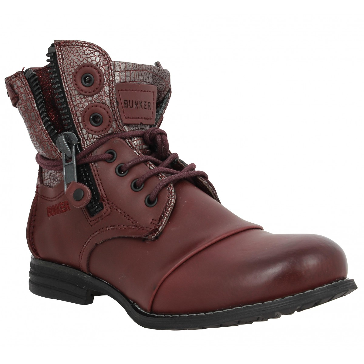 Bottines BUNKER Sara Zip cuir Femme Bordeaux