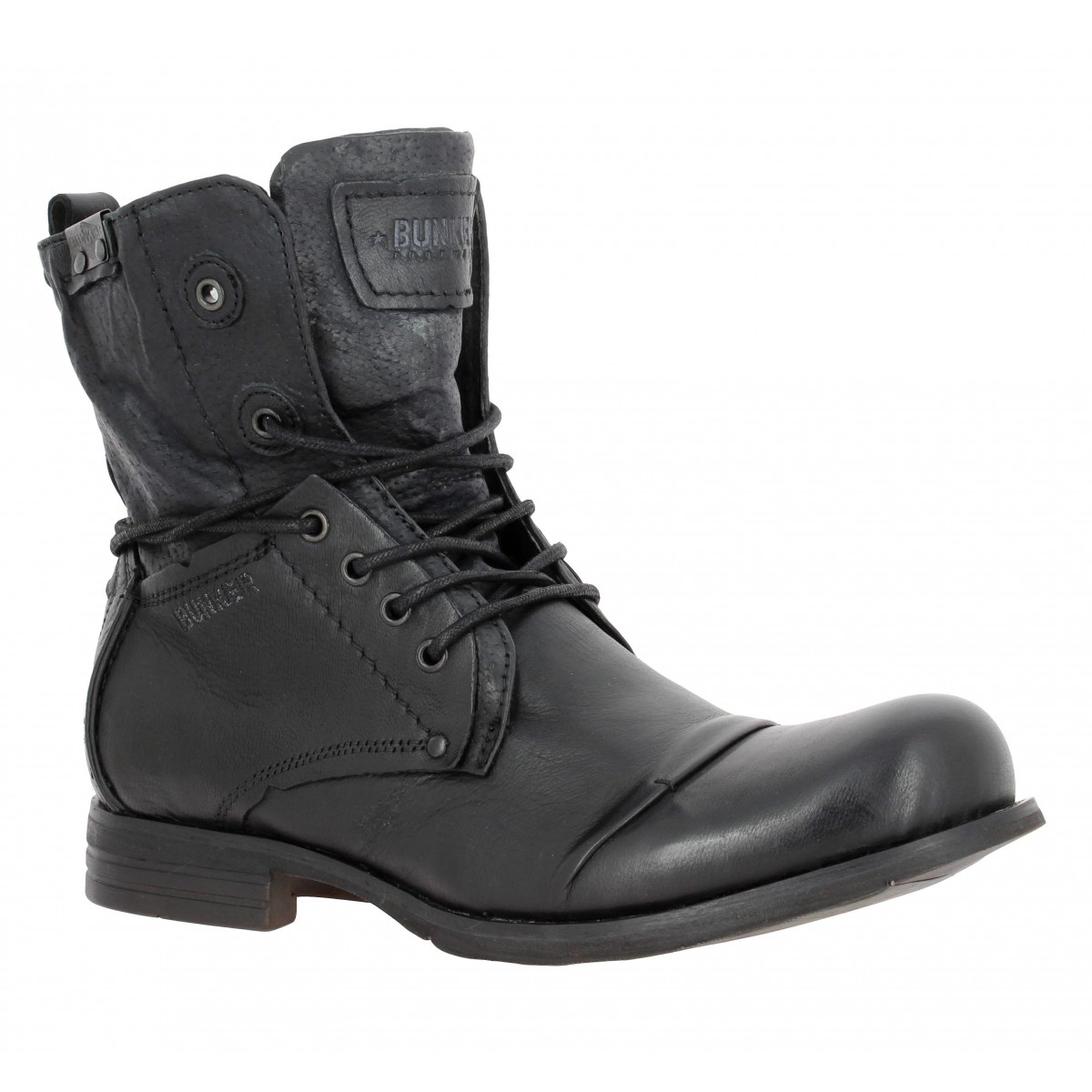 Bottines BUNKER Tar cuir Homme Carbone