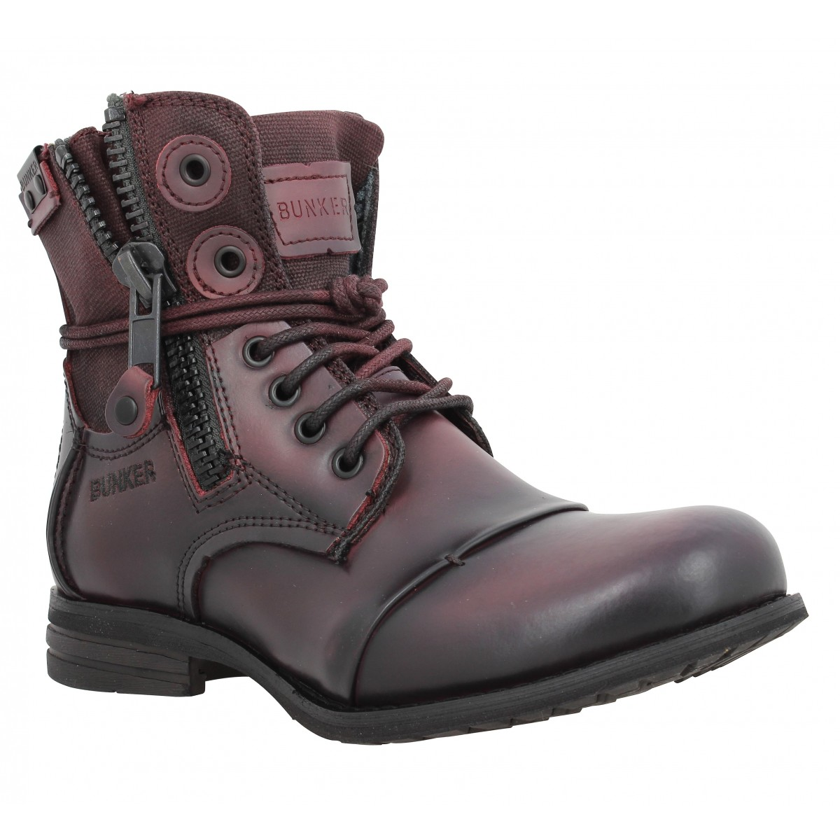 Bottines BUNKER Zip Sp Femme Bordeaux