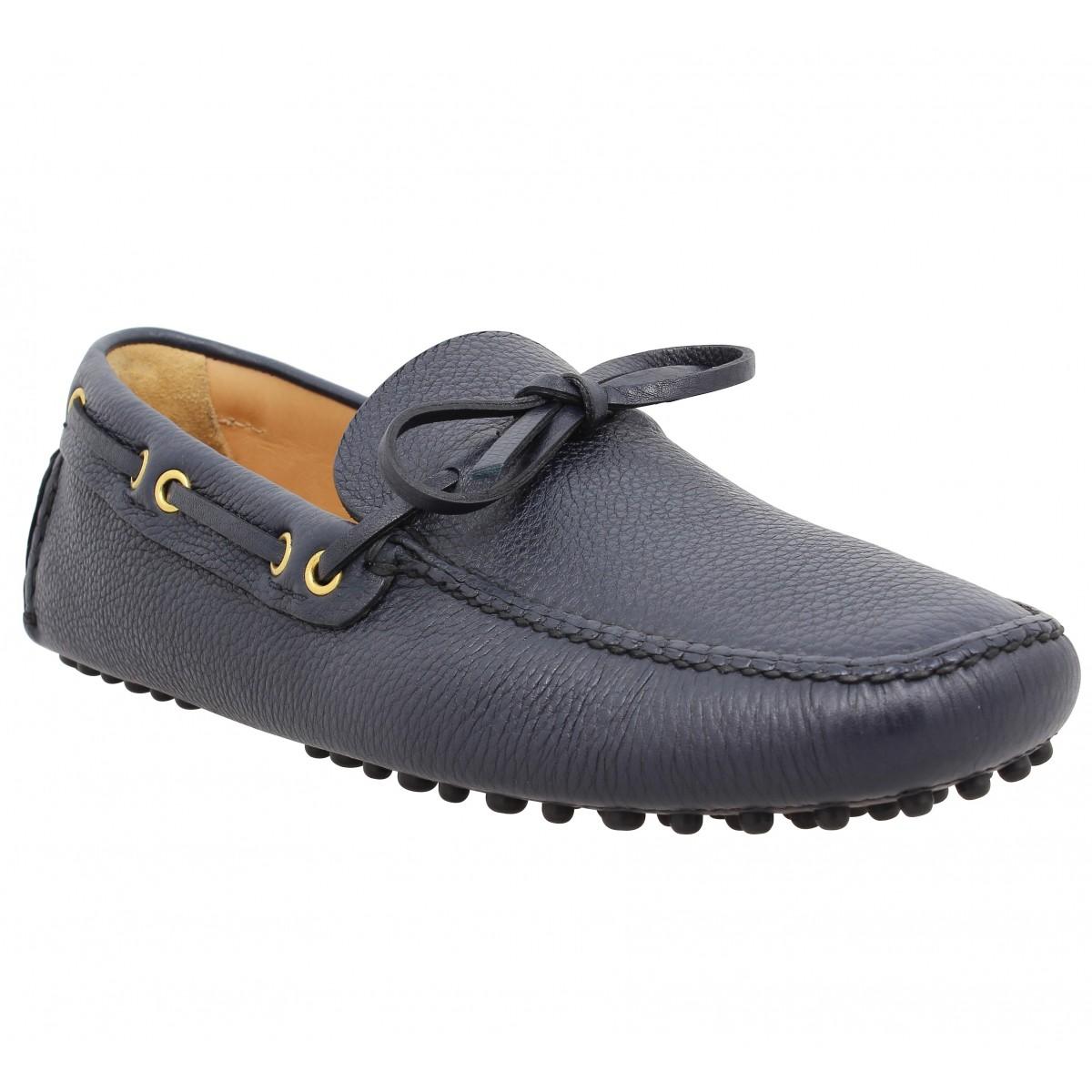 Car shoe driving shoes cuir graine homme bleu homme   Fanny chaussures 26d77e61f843