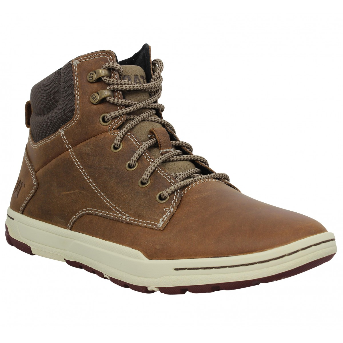 Bottines CATERPILLAR Colfax Mid cuir Homme Beige