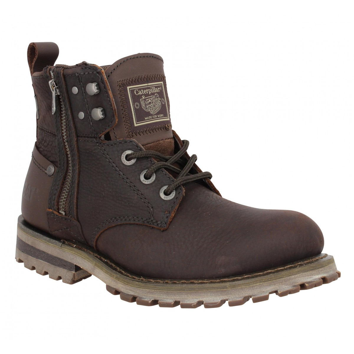 Bottines CATERPILLAR Hoxton cuir Homme Chocolat
