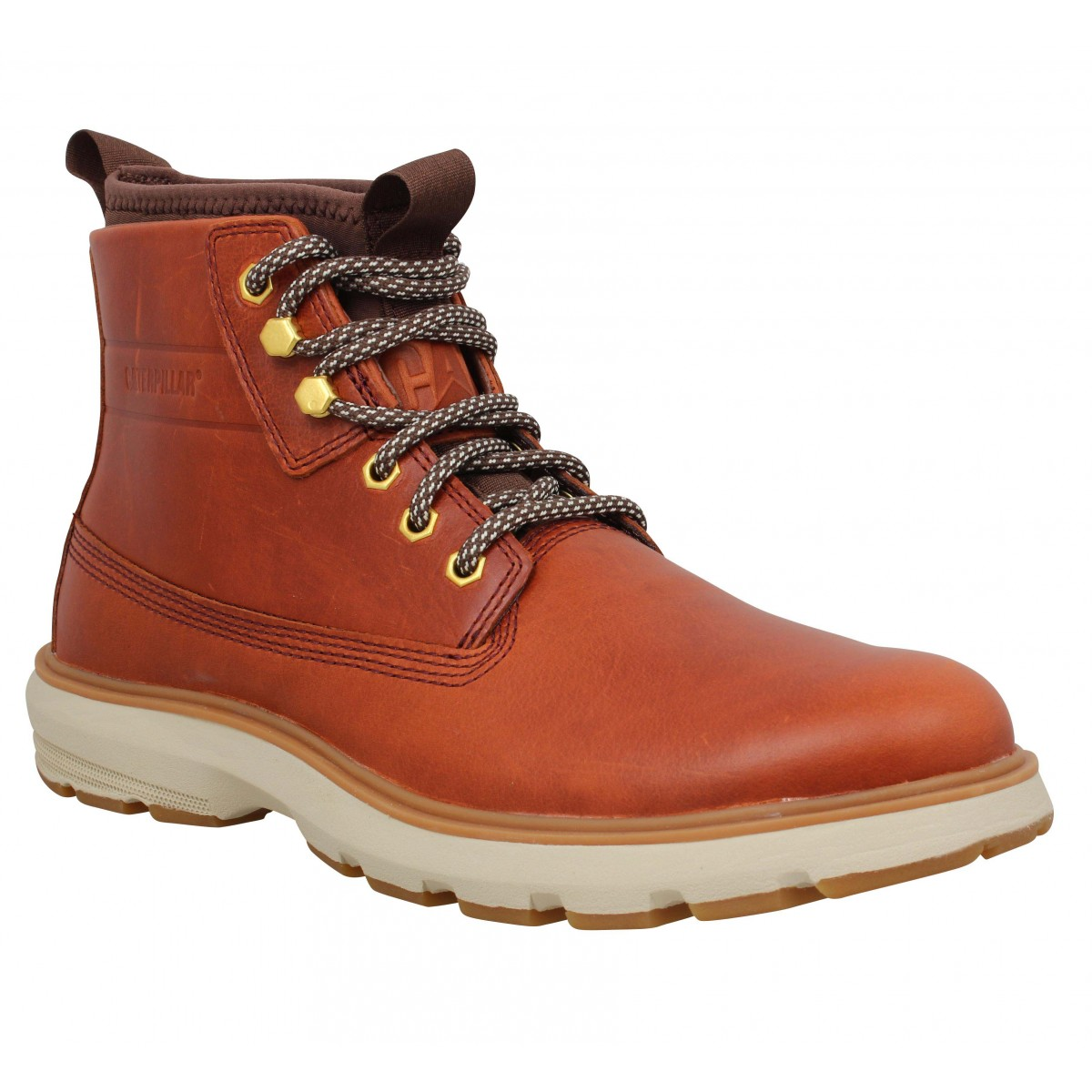 Bottines CATERPILLAR Station cuir Homme Cognac