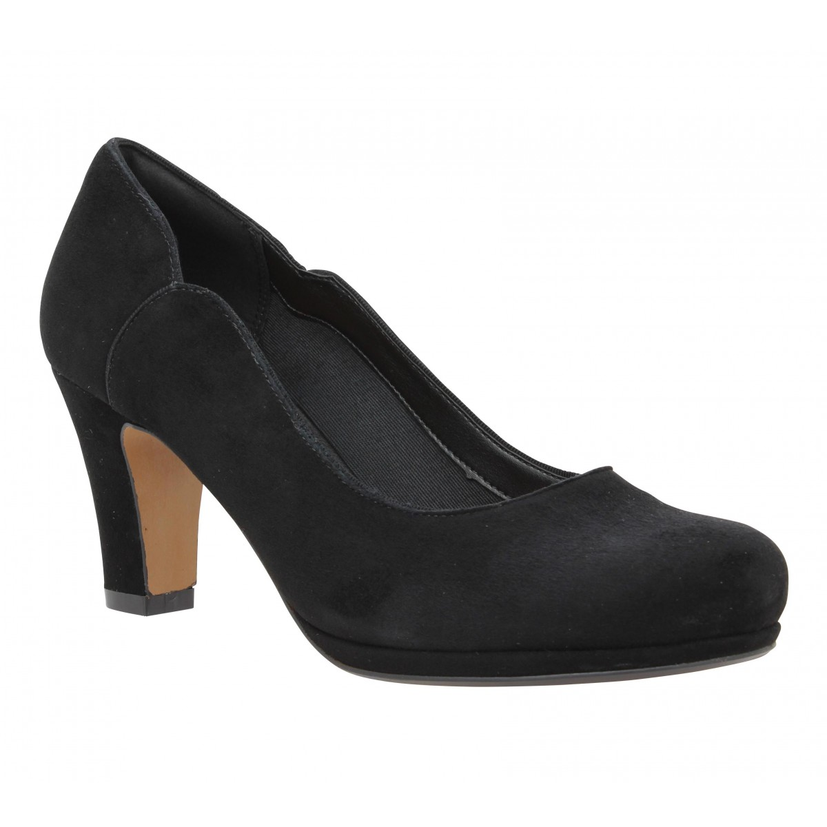 Escarpins CLARKS Chorus Nights velours Femme Black
