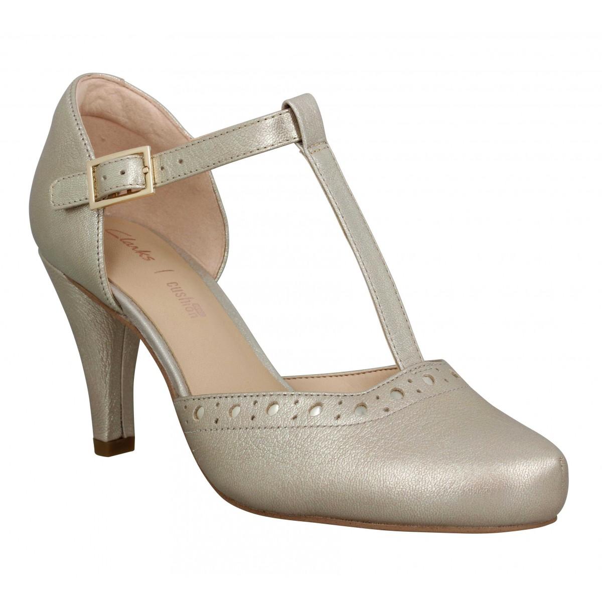 Escarpins CLARKS Dalia Leah cuir Femme Champagne