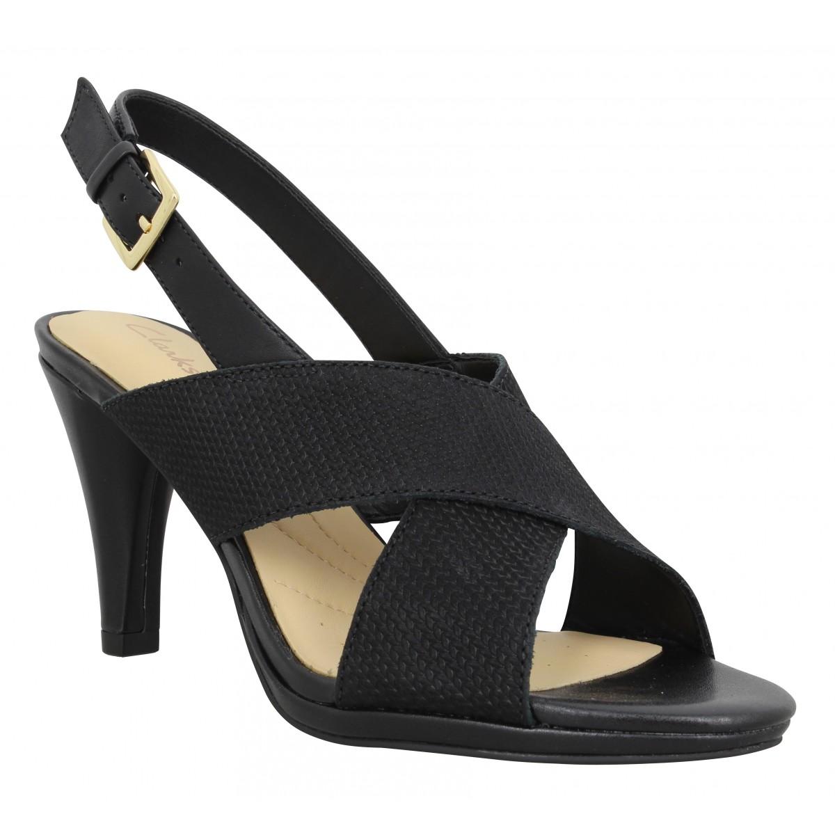 Sandales talons CLARKS Dalia Lotus cuir Femme Noir