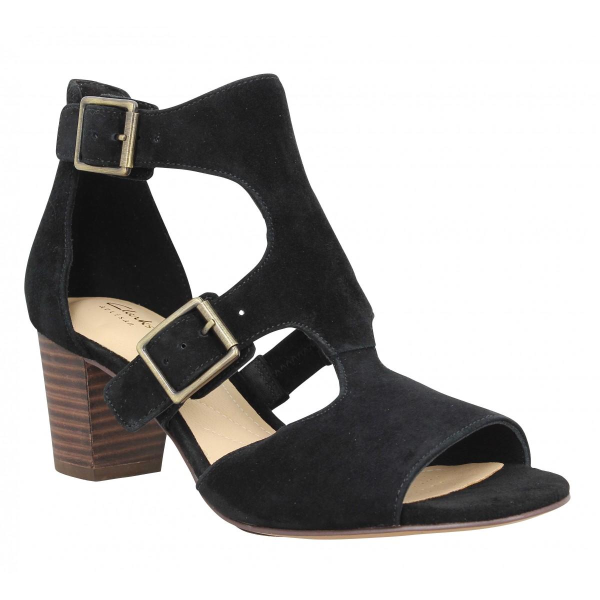 Sandales talons CLARKS Deloria Kay velours Femme Noir