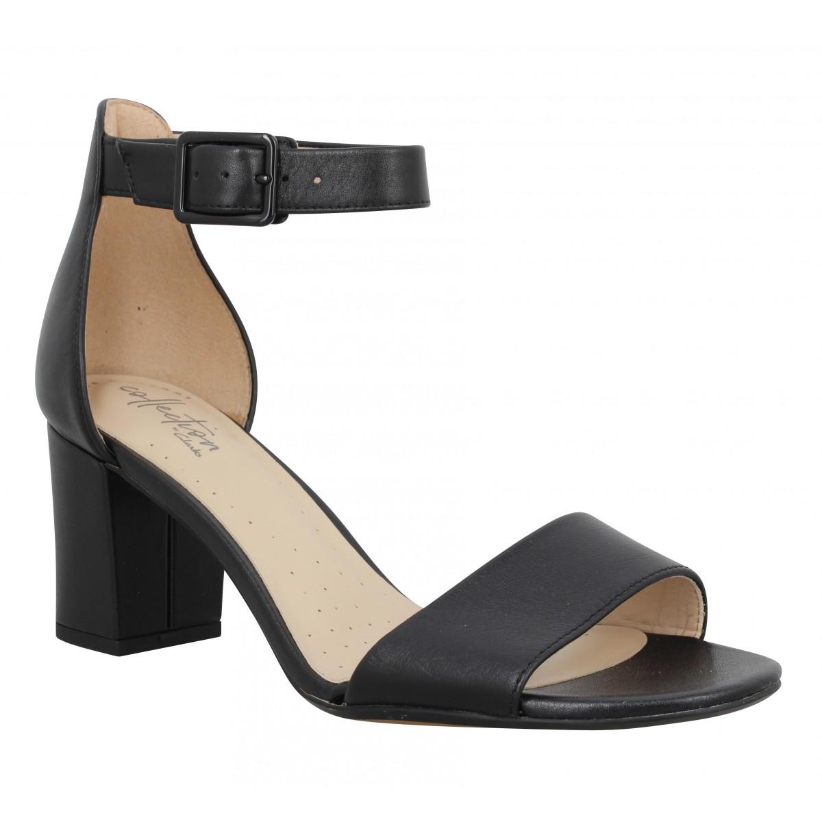 Sandales talons CLARKS Deva Mae cuir Femme Noir