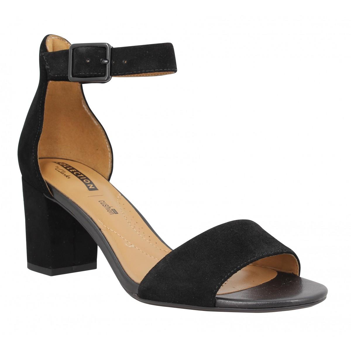 Sandales talons CLARKS Deva Mae velours Femme Noir