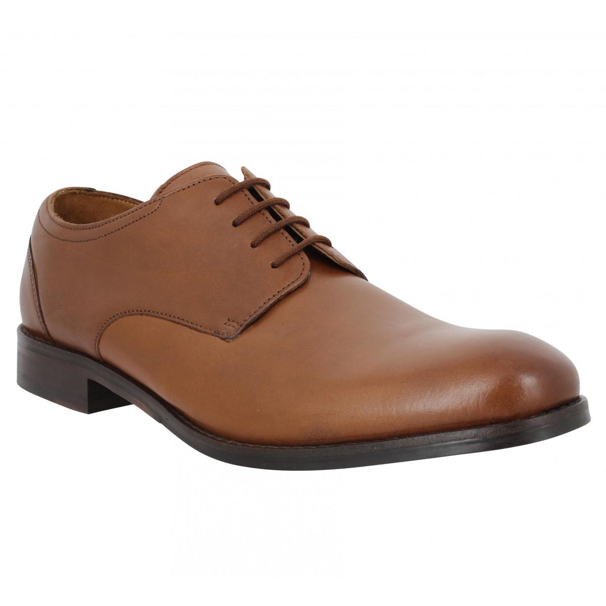 Chaussures à lacets CLARKS Flow Plain cuir Homme Marron