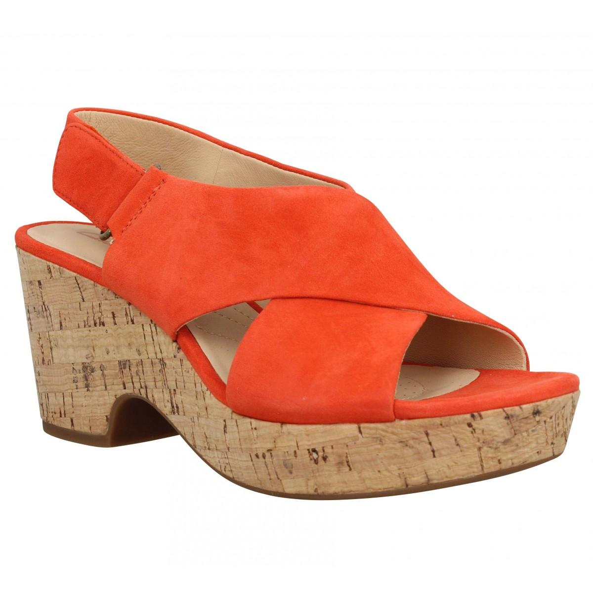 Sandales talons CLARKS Maritsa Lara velours Femme Orange