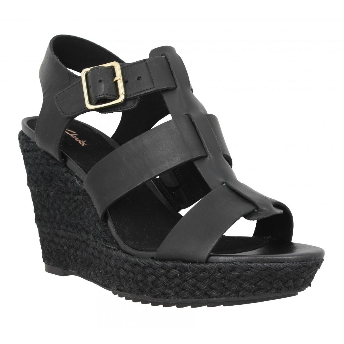 Sandales talons CLARKS Maritsa95 Glad cuir Femme Noir