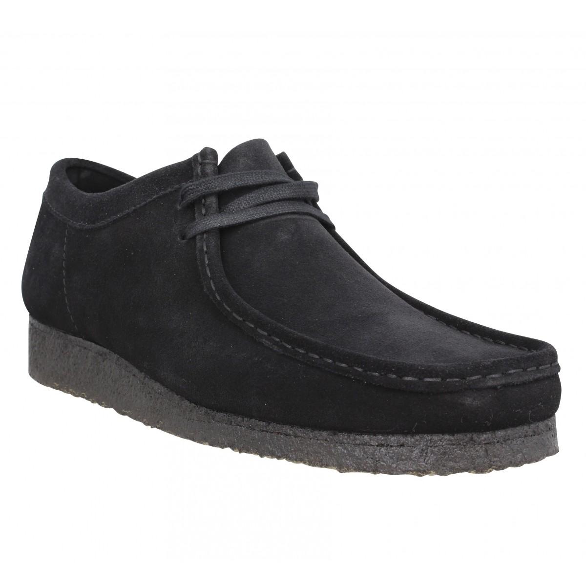 Chaussures à lacets CLARKS ORIGINALS Wallabee velours Homme Black