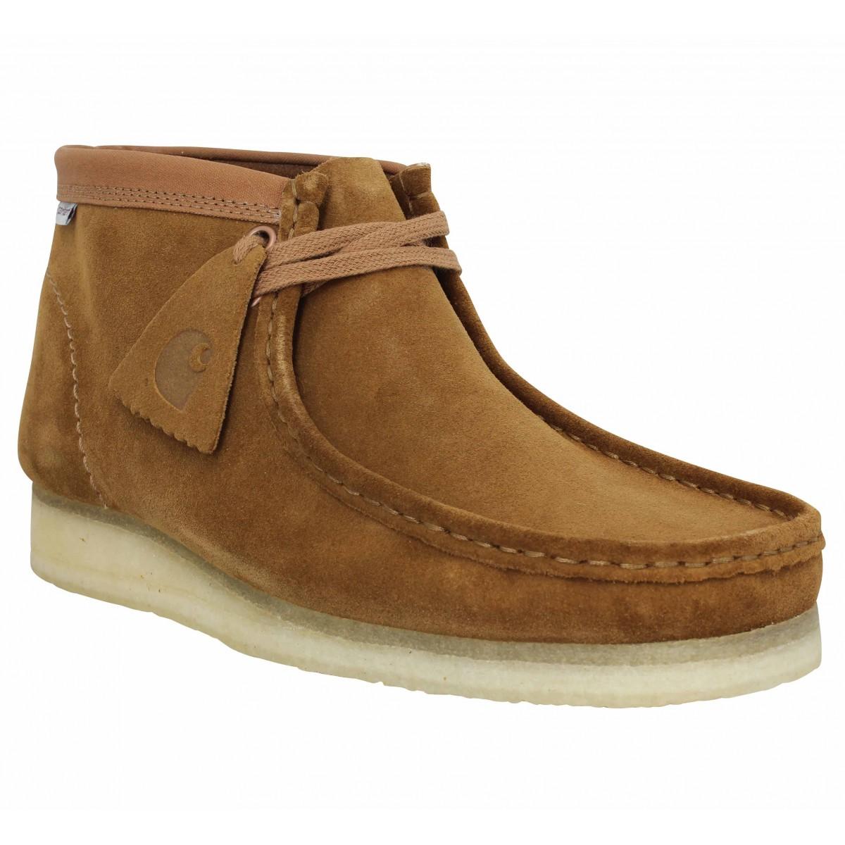 Bottines CLARKS ORIGINALS X CARHARTT Wallabee Boot velours Homme Brown