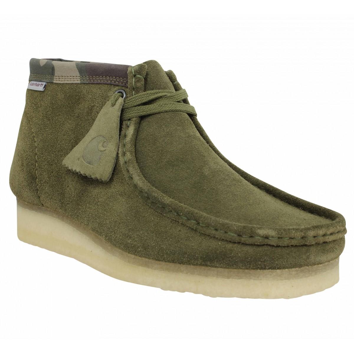 Bottines CLARKS ORIGINALS X CARHARTT Wallabee Boot velours Homme Olive