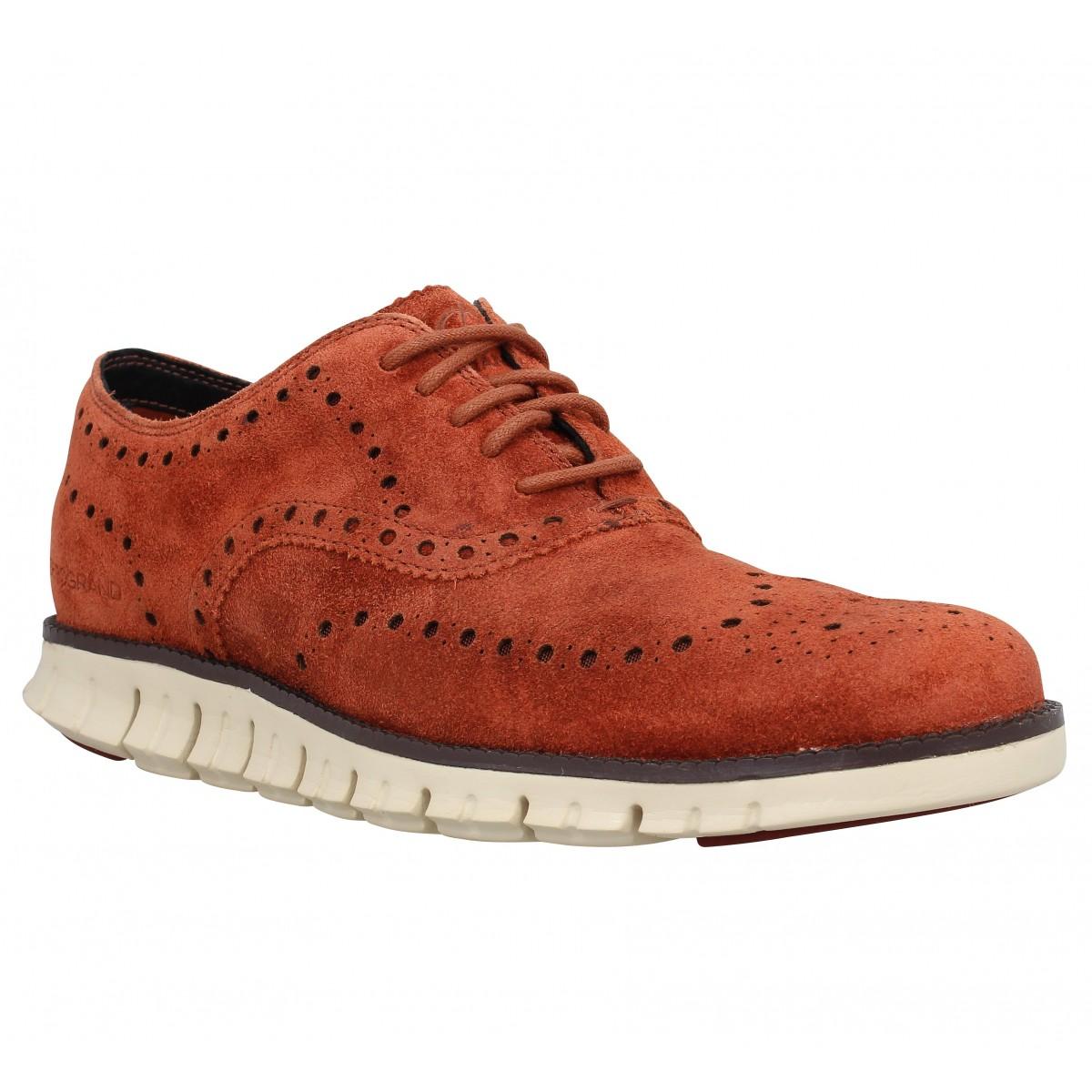 Chaussures à lacets COLE HAAN Zerogrand Wingtip Oxford velours Homme Marron