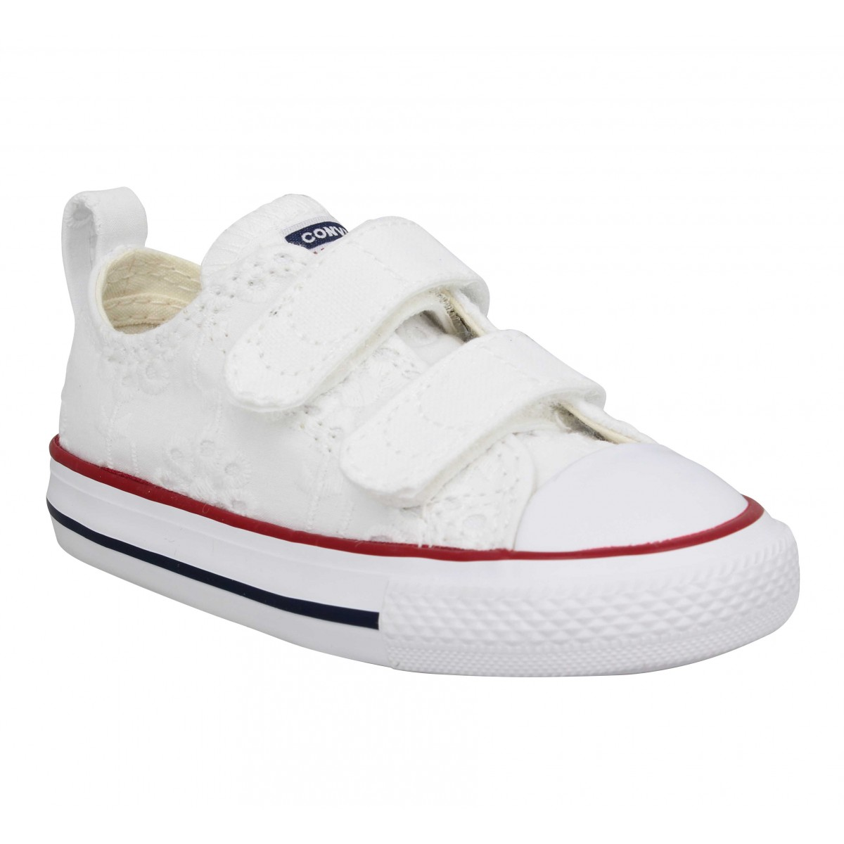Baskets CONVERSE Chuck Taylor All Star 2V broderies Enfant Blanc