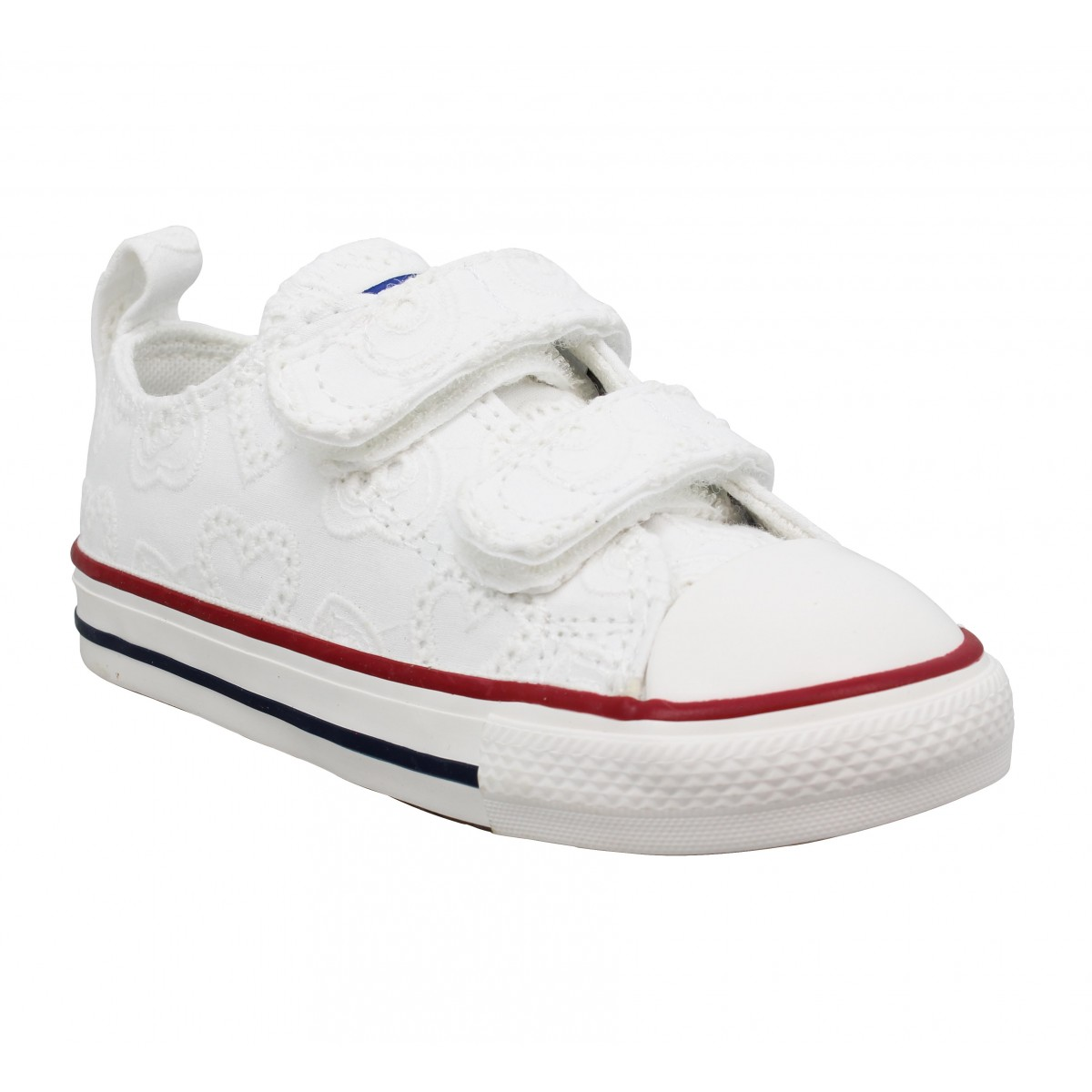 Baskets CONVERSE Chuck Taylor All Star 2V toile brodee coeur Enfant Blanc