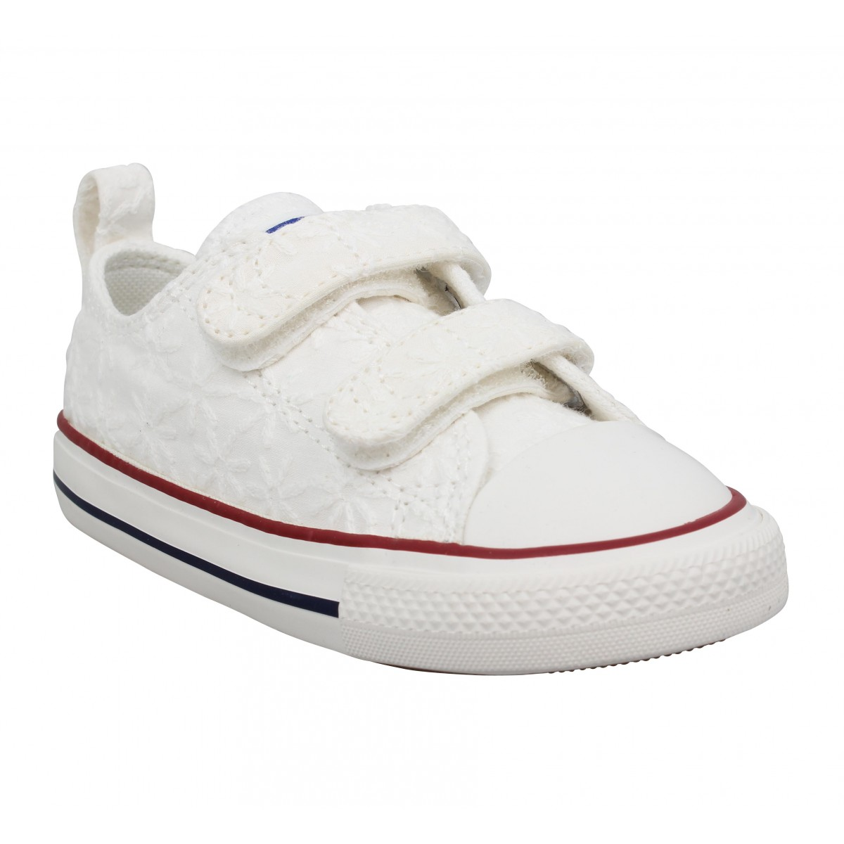 Baskets CONVERSE Chuck Taylor All Star 2V toile brodee Enfant Blanc