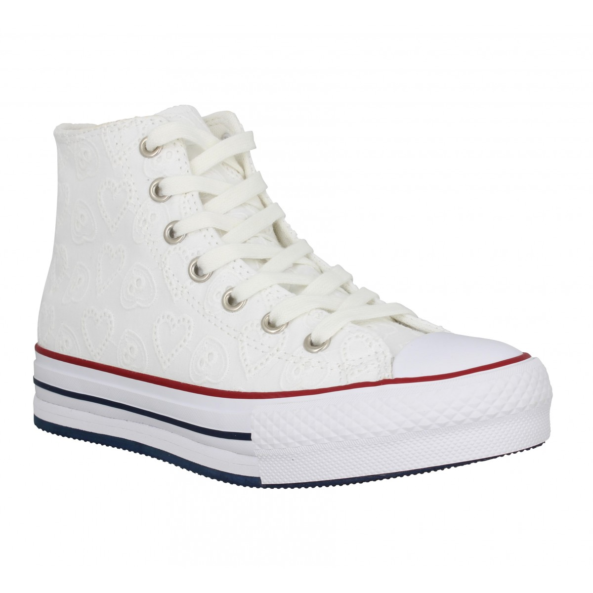 Baskets CONVERSE Chuck Taylor All Star Eva Lift Hi toile brodee Enfant Blanc