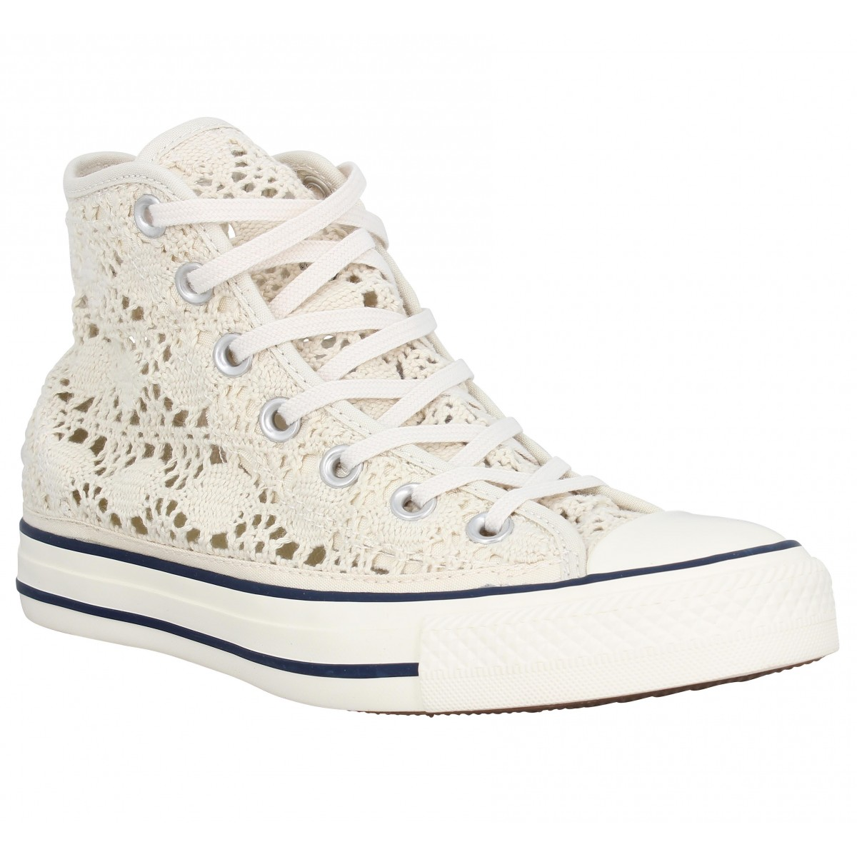 Baskets CONVERSE Chuck Taylor All Star Hi crochet Femme Beige