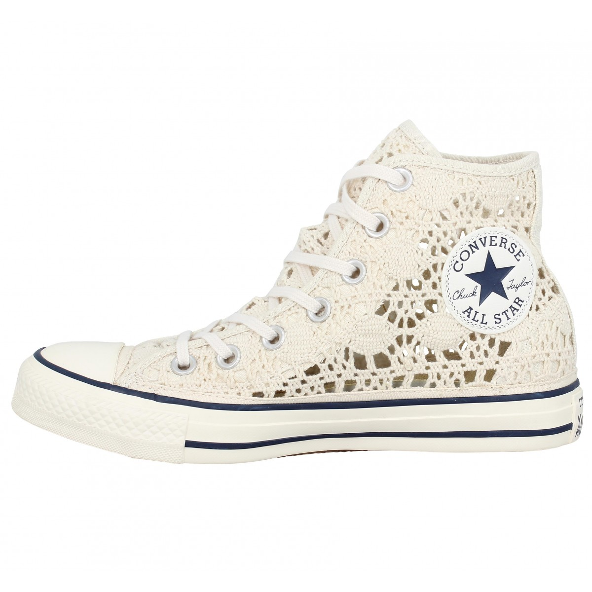 converse chuck taylor all star hi crochet femme beige femme fanny chaussures. Black Bedroom Furniture Sets. Home Design Ideas