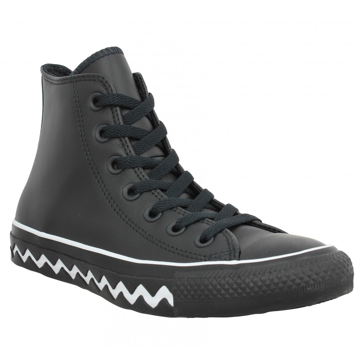 Baskets CONVERSE Chuck Taylor All Star Hi Mission cuir Femme Noir