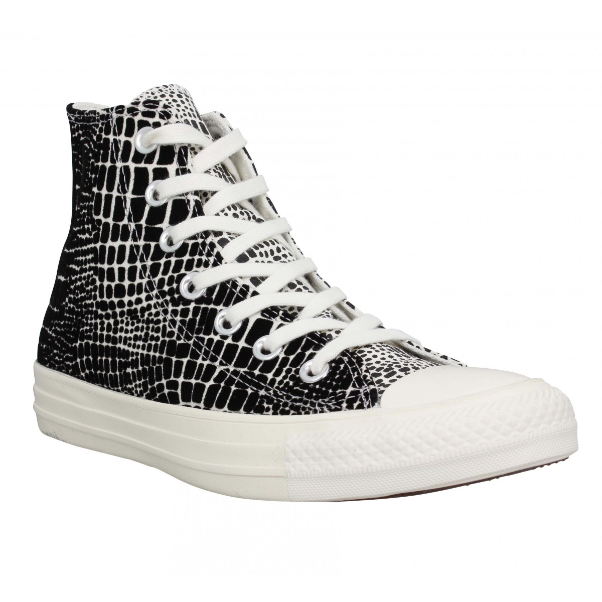 Baskets CONVERSE Chuck Taylor All Star Hi toile digitale Femme Noir Blanc
