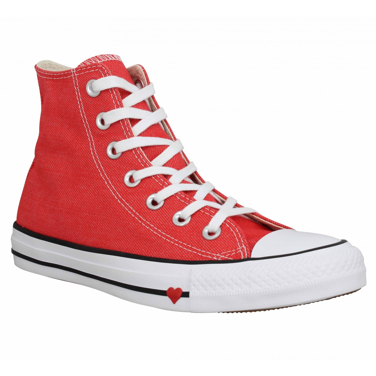 Baskets CONVERSE Chuck Taylor All Star Hi toile Femme Red