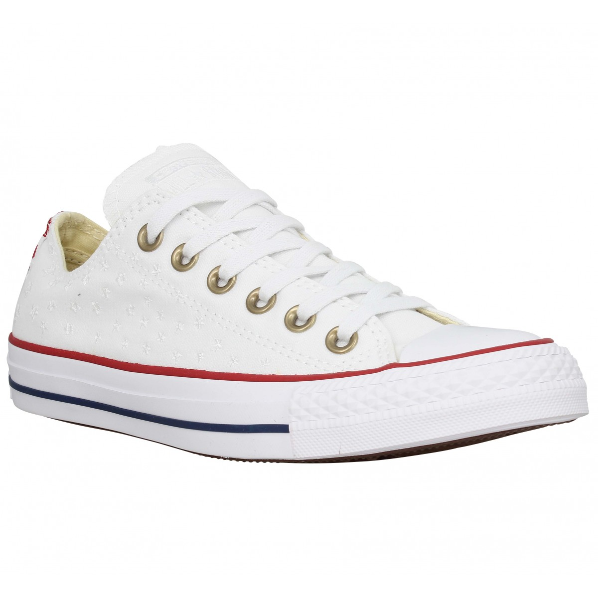 converse chuck taylor all star toile brodee femme blanc femme fanny chaussures. Black Bedroom Furniture Sets. Home Design Ideas