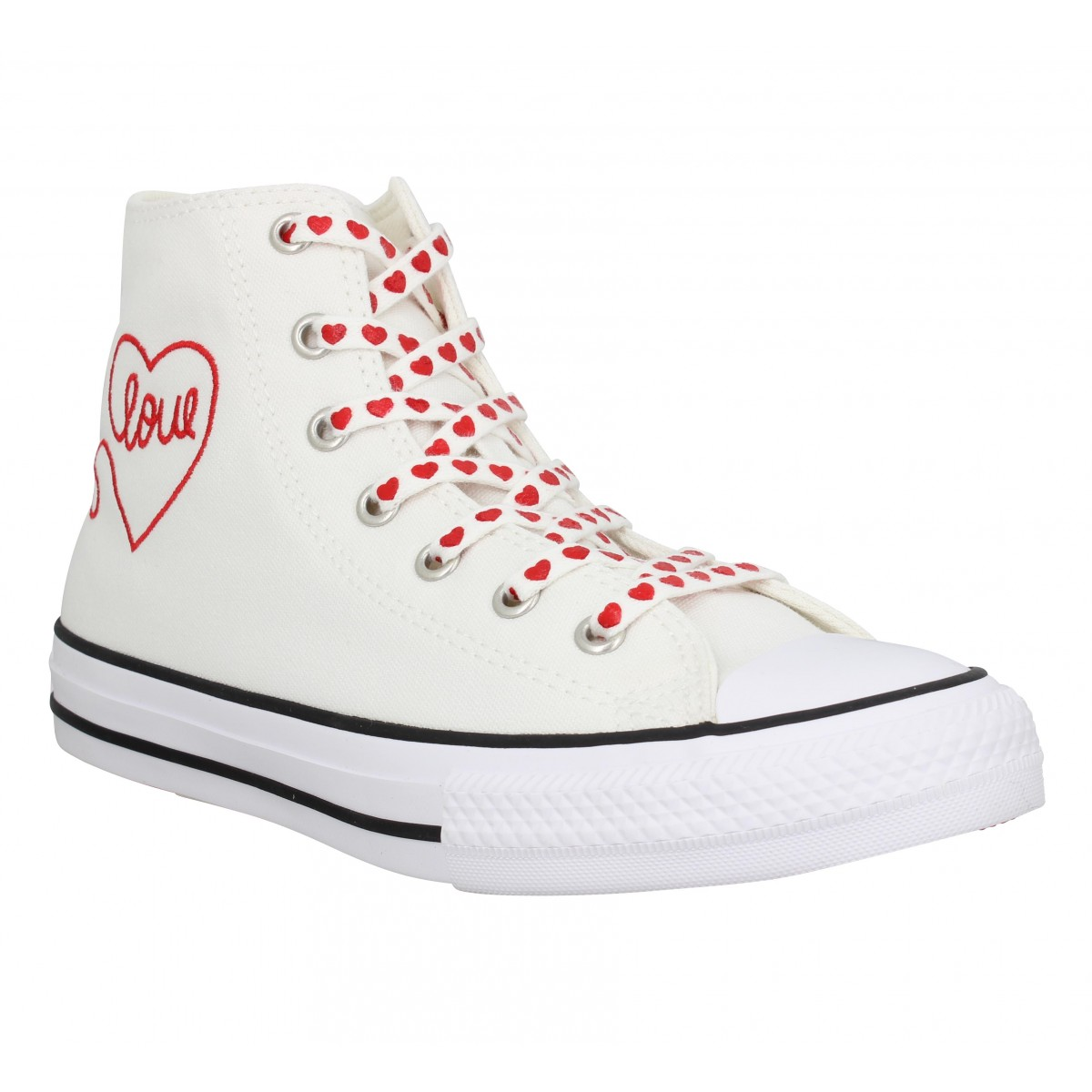 Baskets CONVERSE CT All Star Hi Valentine's Day toile Enfant Blanc Rouge