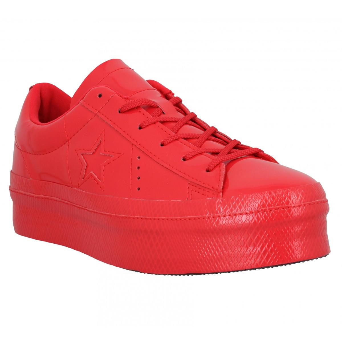 basket converse femme rouge et noir