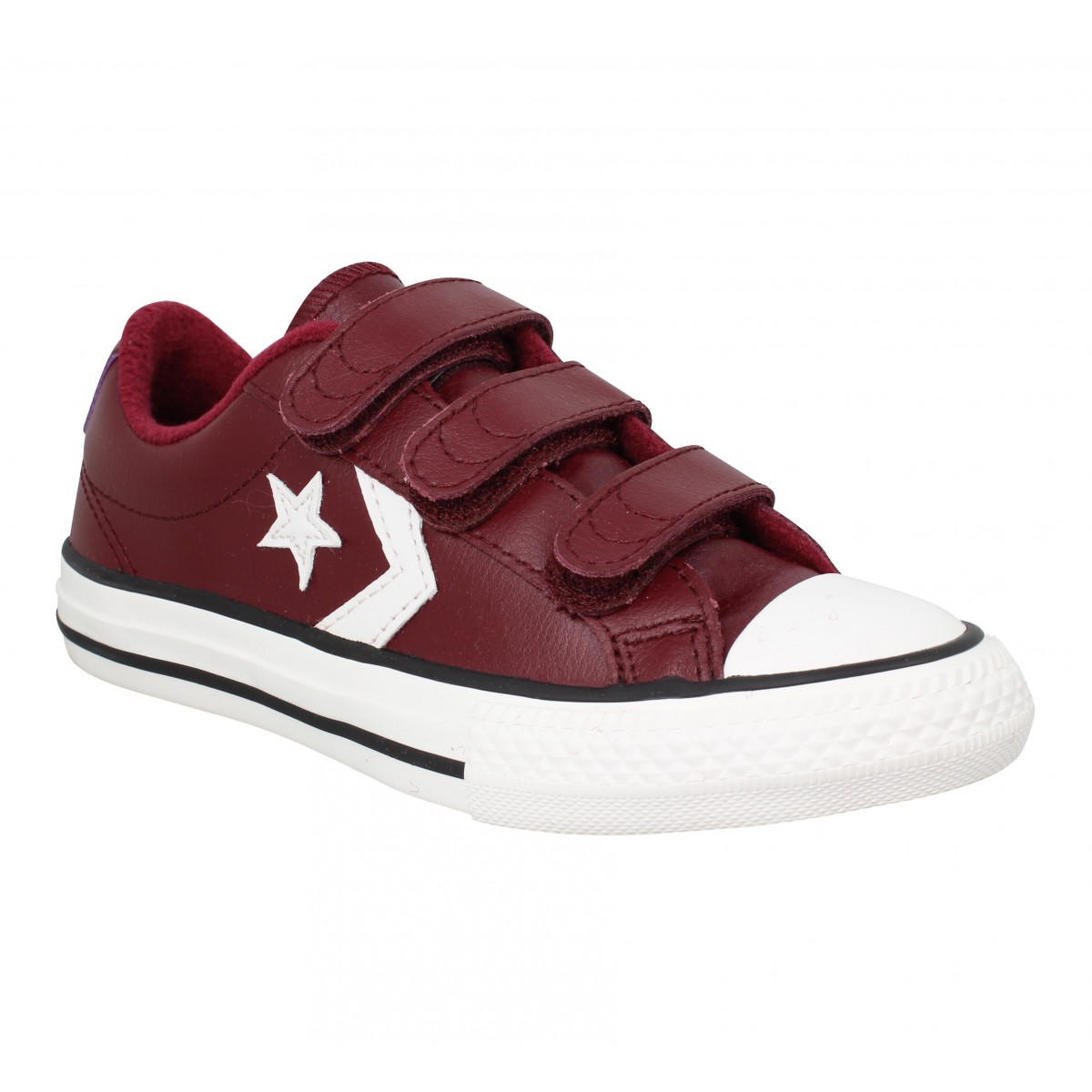 Baskets CONVERSE Star Player 3V OX cuir Enfant Bordeaux
