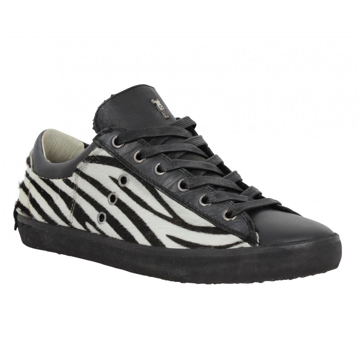 Baskets CRIME CR 2597 cuir + zebre Femme Noir + Blanc