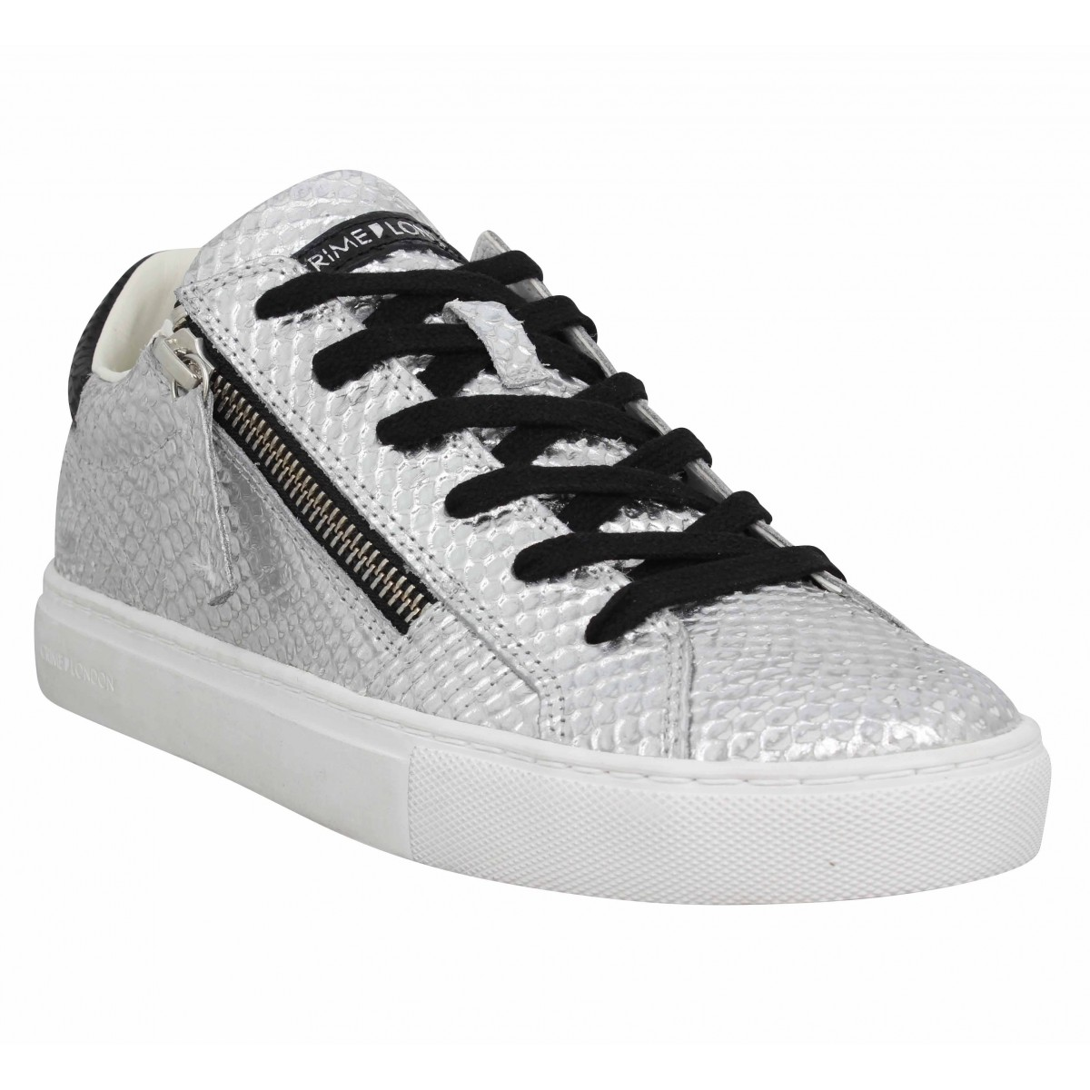 Baskets CRIME LONDON Java Lo cuir Femme Silver
