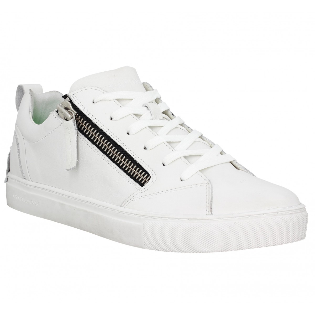 Baskets CRIME Java Lo cuir Homme Blanc