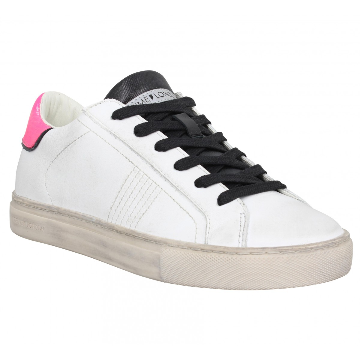 Baskets CRIME LONDON Beat cuir Femme Blanc Rose