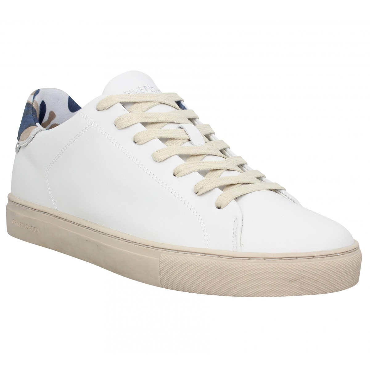 Crime Homme London Beat Cuir -40-blanc