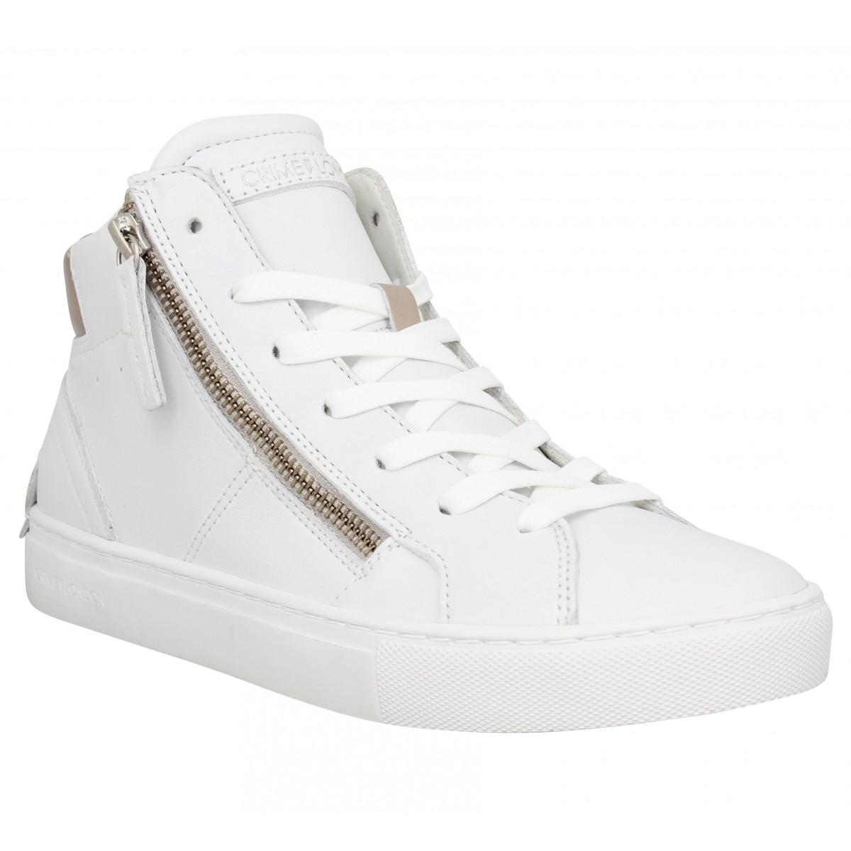 Baskets CRIME LONDON Java Hi cuir Femme Blanc